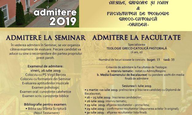 Admiterea la Seminarul Teologic Major și Facultatea de Teologie Greco-Catolică Oradea, anul 2019