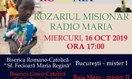 Pe 16 octombrie, Rozariul Misionar va fi transmis şi din Catedrala Sfântul Nicolae