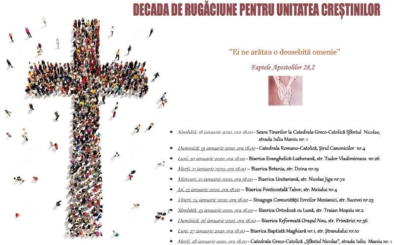 Program: DECADA DE RUGĂCIUNE PENTRU UNITATEA CREŞTINILOR 2020