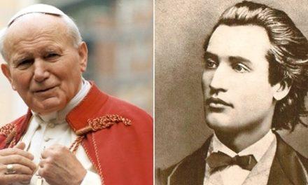 Sfântul Papă Ioan Paul al II-lea recitând din Eminescu