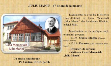 Invitație: Iuliu Maniu-67 de ani de la moarte