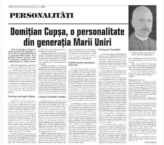 Domițian Cupșa, o personalitate din generația Marii Uniri