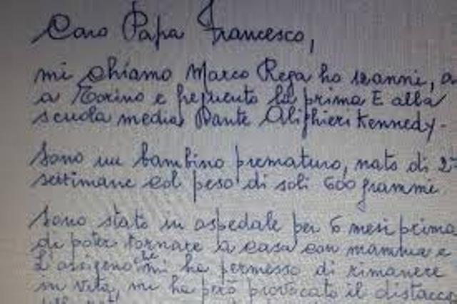 Scrisoarea lui Marco ce l-a sensibilizat pe Papa Francisc