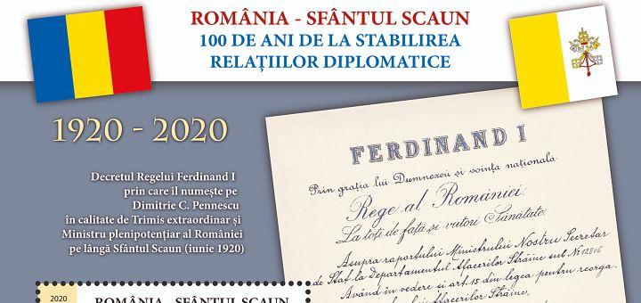 Emisiune filatelică dedicată centenarului relațiilor diplomatice România-Sfântul Scaun