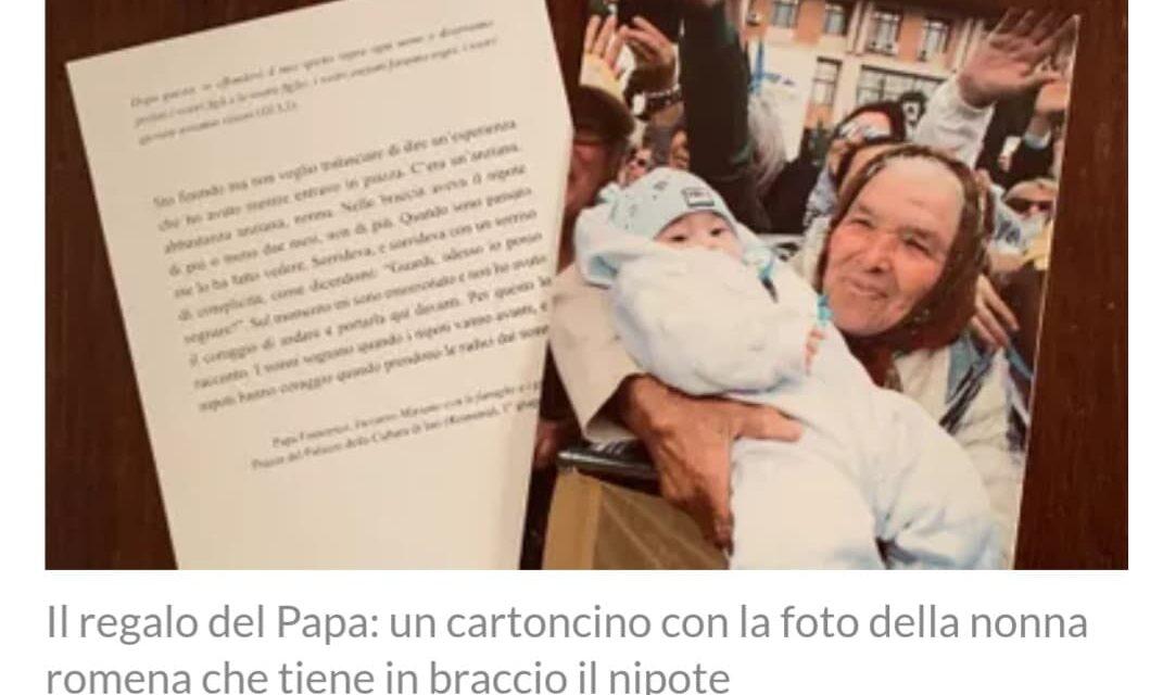 Imaginea bunicii din Iași tipărită de Papa Francisc