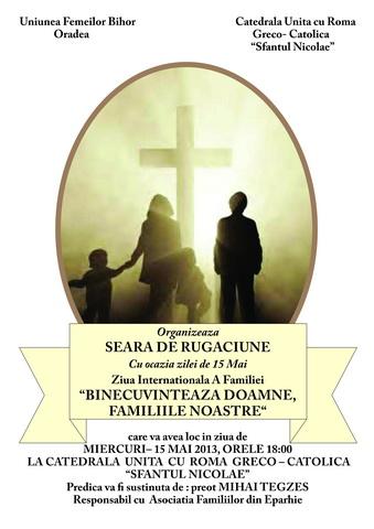 """Seara de rugaciune pentru familii la Catedrala """"Sfântul Nicolae"""" din Oradea,"""