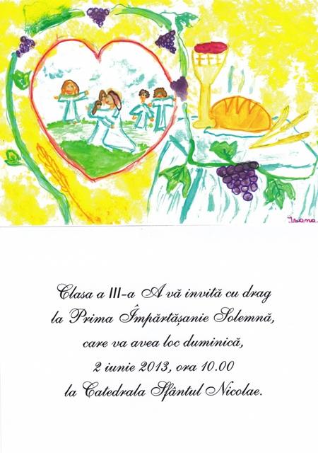 Invitatie: Prima Spovada si Împartasanie Solemna la Catedrala Sfântul Nicolae din Oradea,