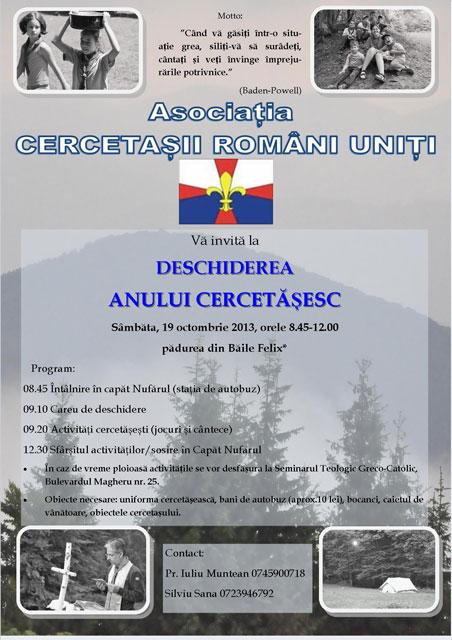 Invitatie: Deschiderea Anului Cercetasesc – 19 oct. 2013,