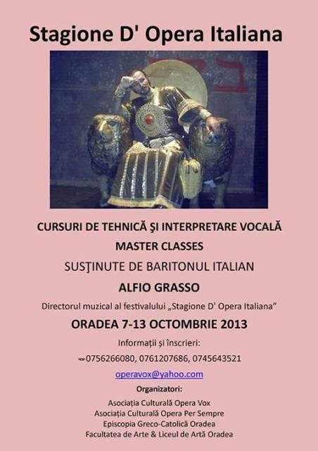 Comunicat de presa privind desfasurarea Cursului de Tehnica si Interpretare Vocala Master Classes la Oradea,