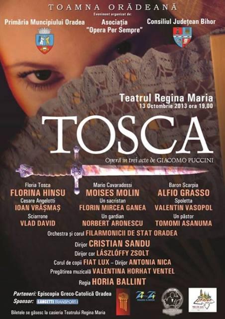 Un regal pentru iubitorii de opera: TOSCA de Puccini,