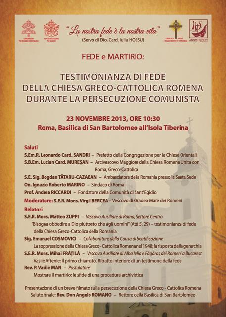 Roma: Simpozion despre marturia de credinta a Bisericii Greco-Catolice Române în timpul persecutiei comuniste.,