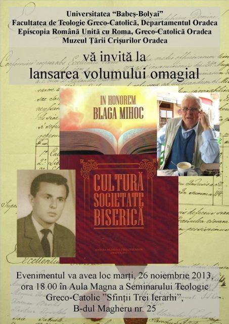 """Invitatie: Lansare de carte în Aula Magna a Seminarului Greco-Catolic Sfintii Trei Ierarhi """"Vasile Grigore si Ioan"""" din Oradea,"""