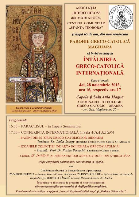Invitatie: Întâlnirea greco catolica internationala.,