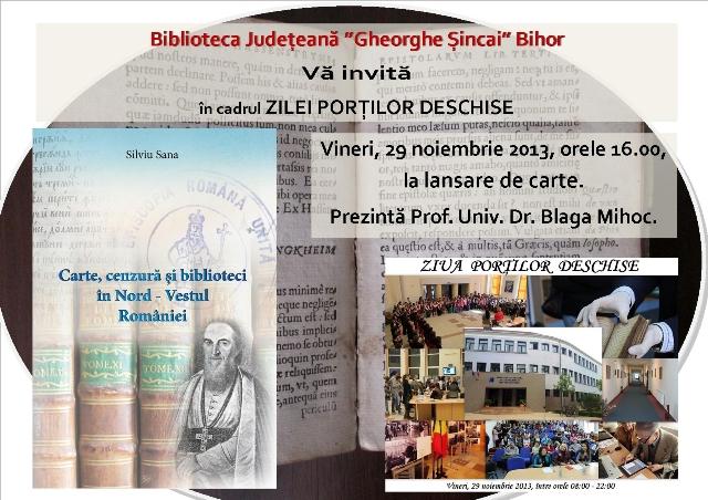"""Invitatie: Lansare de carte la Biblioteca Judeteana """"Gheorghe Sincai"""" Oradea,"""