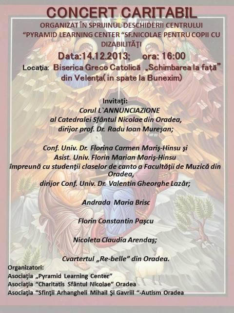 Invitatie: Concert caritabil,