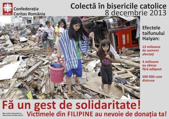 Rezultate colecta pentru victimele taifunului din Filipine,