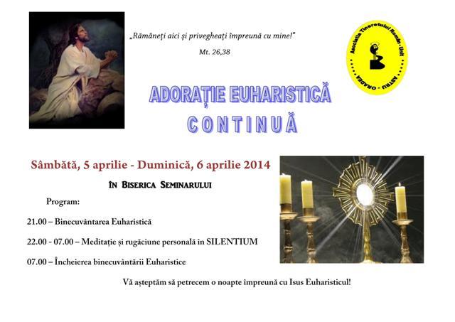 Invitatie la Adoratie Euharistica nocturna,