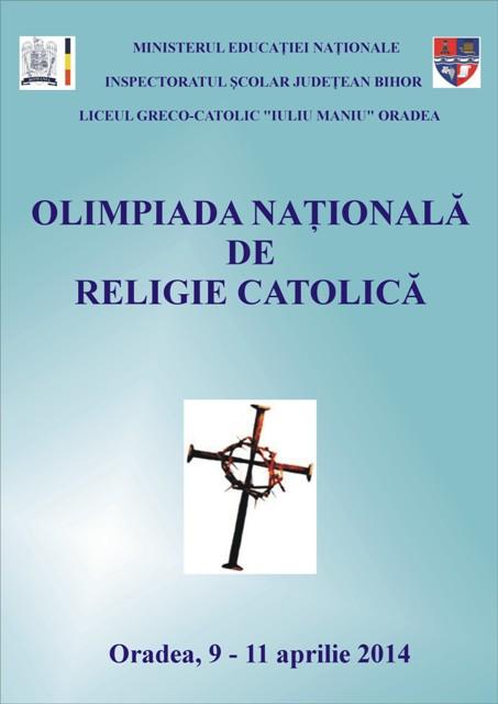 COMUNICAT DE PRESA: Olimpiada nationala de religie catolica la Liceul Greco-Catolic Iuliu Maniu Oradea,