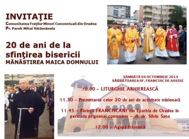Calugarii franciscani din Oradea – 20 de ani de activitate,