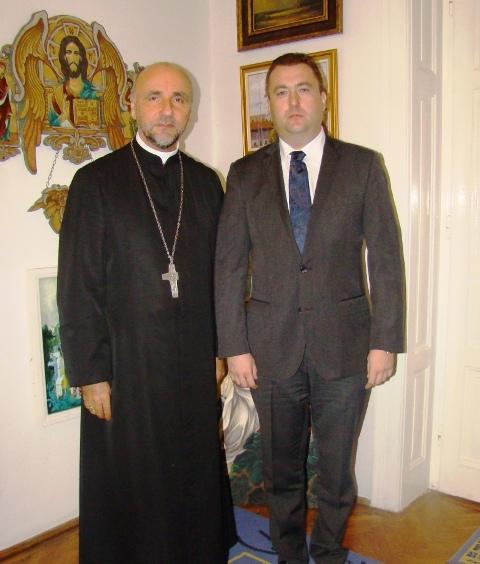 """""""Consulul general al României în Ungaria,  Florin Vasiloni, în vizita la PS Virgil,  Episcopul greco-catolic de Oradea"""","""