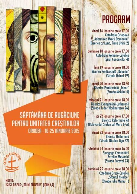 Programul saptamânii de rugaciune pentru unitatea crestinilor,