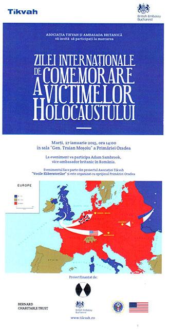 """""""Ziua Internationala de Comemorare a Victimelor Holocaustului comemorata la Primaria din Oradea – 27 ian. 2015, ora 14:00"""","""