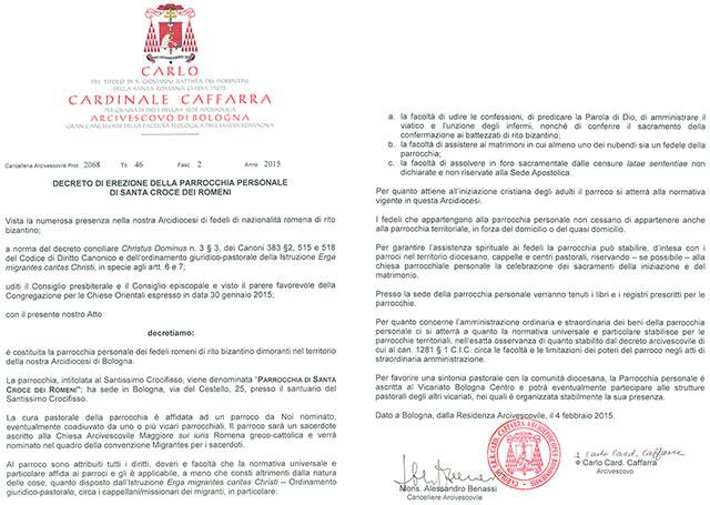 Semnarea decretului de înfiintare a Parohiei personale de la Bologna,