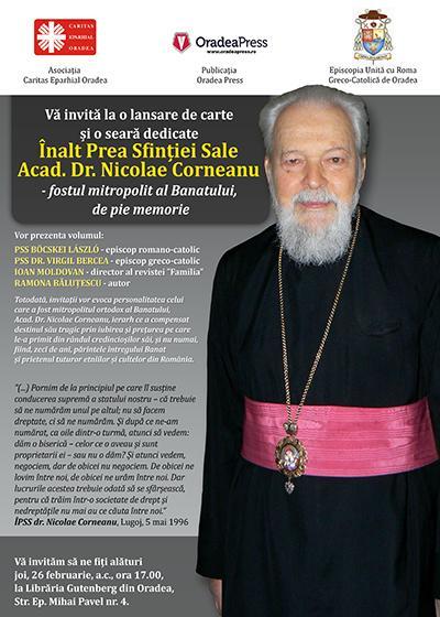 Invitatie la o lansare de carte dedicata mitropolitului Corneanu,