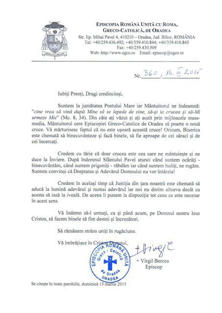 Scrisoarea adresata de Preasfintia Sa Virgil preotilor si credinciosilor Episcopiei de Oradea,