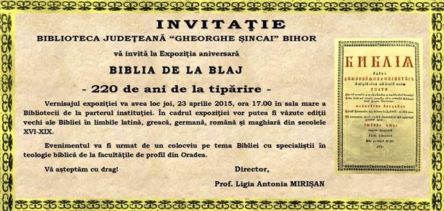 Expozitia aniversara: Biblia de la Blaj,