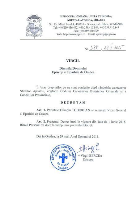 Decretul de numire al noului Vicar General al Episcopiei de Oradea,
