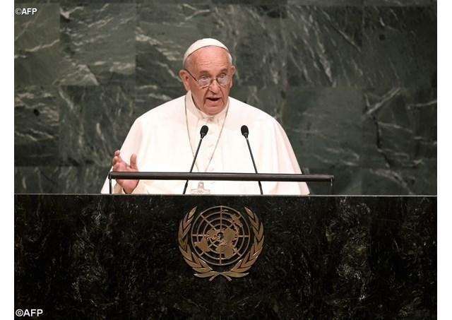 Papa Francisc la sediul ONU din New York,