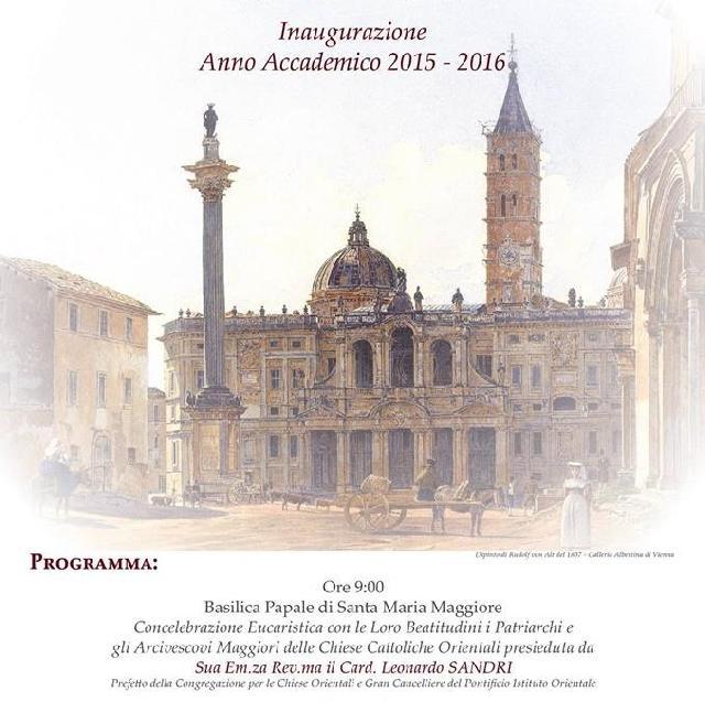 Inaugurarea noului an academic la Institutul Pontifical Oriental din Roma,