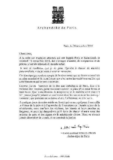Mesajul Cardinalului Parisulului André VINGT-TROIS,