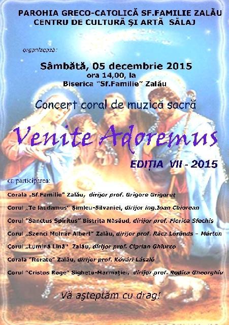 """""""Invitatie Concert """"Venite adoremus"""", Zalau – 2015"""","""
