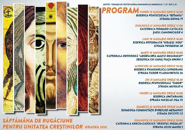 Programul Octavei de rugaciune pentru unitatea crestinilor la Oradea,