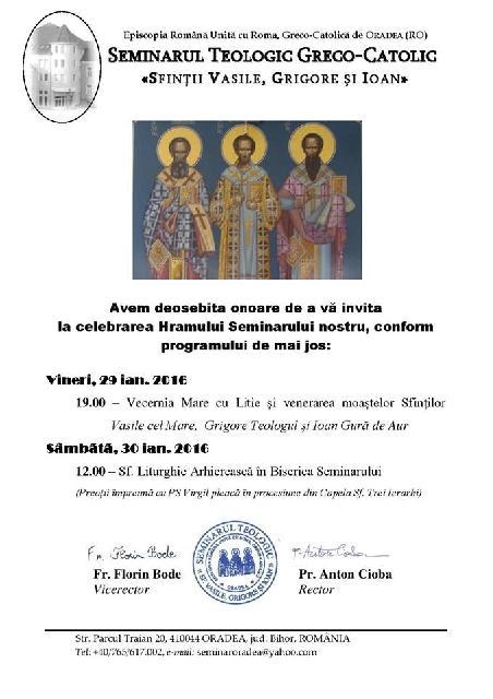 Invitatie la hramul Seminarului,