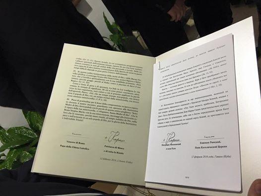 Declaratia comuna a Papei Francisc si a Patriarhului Chiril,