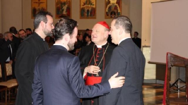 """""""Cardinalul Ravasi, Ministrul Culturii si Ambasadorul României pe lânga Sfântul Scaun au conferentiat la Colegiul Pio Rmeno"""","""