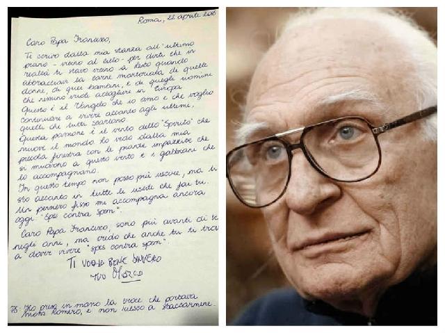 Scrisoarea lui Marco Pannella adresata Papei Francisc,