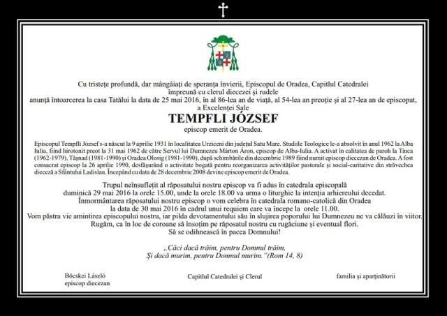 Episcopul emerit al Diecezei de Oradea a trecut la Domnul,