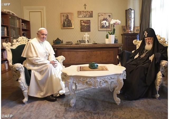 Papa Francisc în Georgia si Azerbaidjan. Întâlnirea cu patriarhul ortodox Ilia al II-lea,