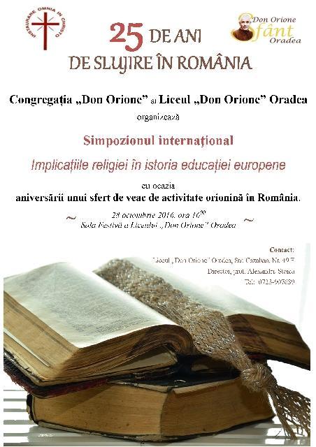 """Simpozion: Congregatia Don Orione – """"25 DE ANI DE SLUJIRE ÎN ROMANIA"""","""