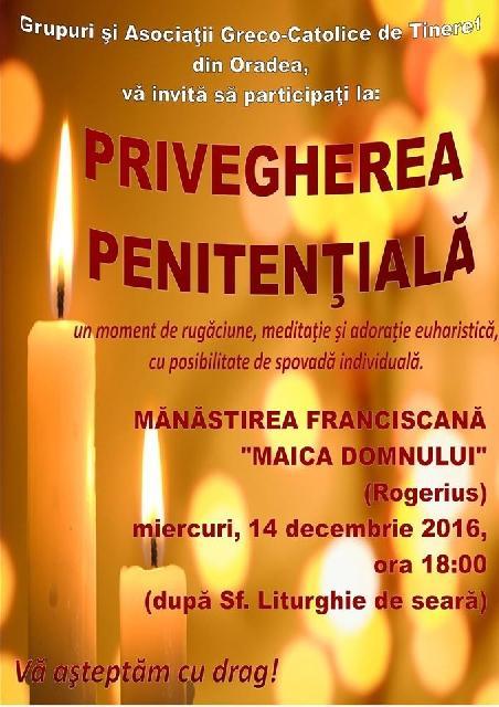 Invitatie: Seara de priveghere penitentiala,