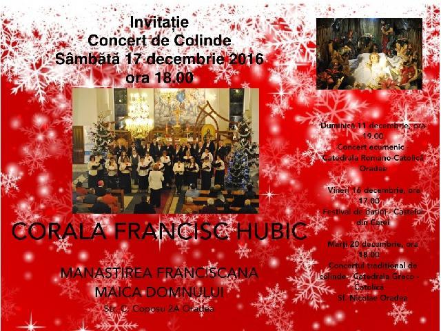 "Invitatie: Concertul de Colinde al Coralei ""Francisc Hubic"","