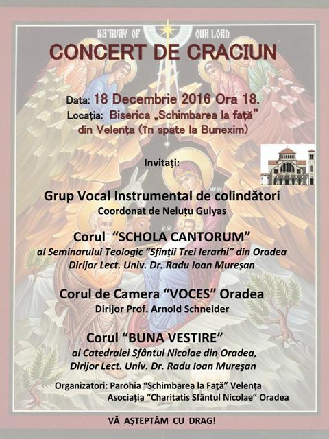 Invitatie: Concert de Colinde în Parohia Velenta,