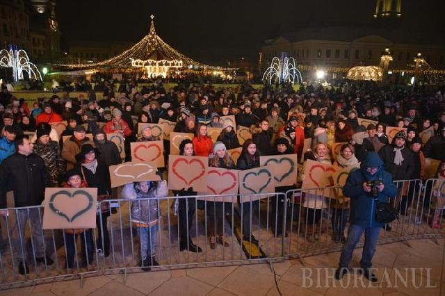 Imnul închinat Vietii a rasunat în Piata Unirii din Oradea,