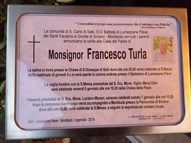 A trecut la cele vesnice parintele Francesco Luigi Turla,