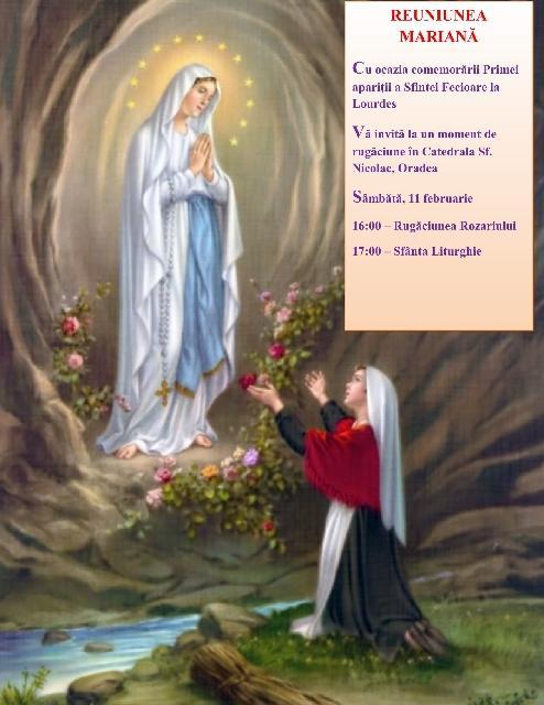 Invitatie: Moment de rugaciune cu ocazia comemorarii Primei aparitii a Sfintei Fecioare la Lourdes,