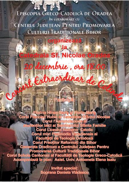 """Invitatie – Concert Extraordinar de Colinde la Catedrala """"Sfântul Nicolae"""","""